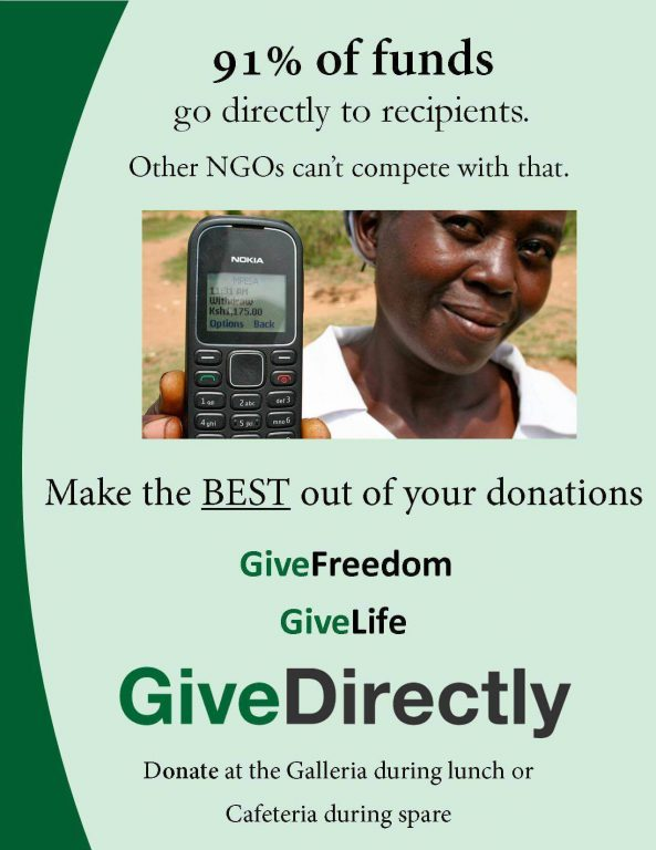 Give directly through GiveDirectly